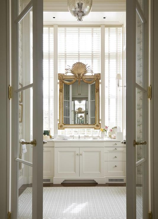 master-bathroom-french-doors-gold-clam-shell-mirror-extra-wide-single-vanity