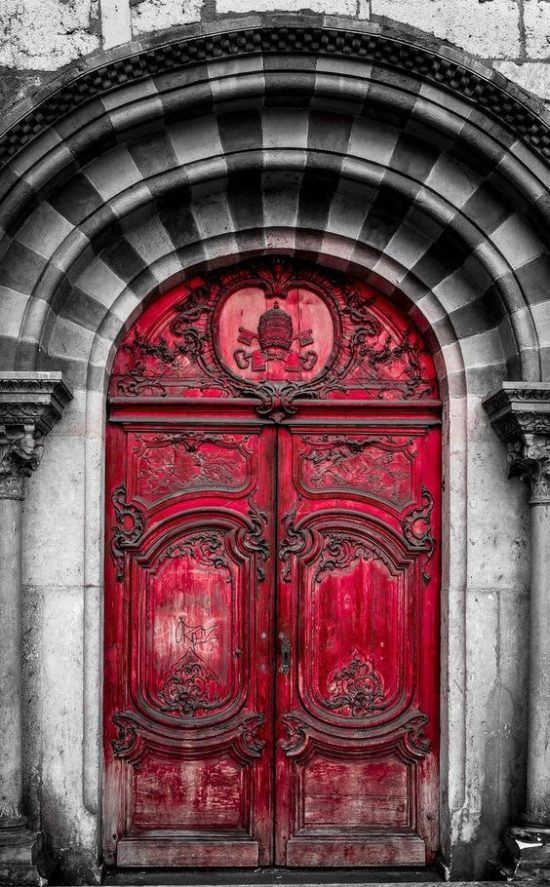 red double entry doors