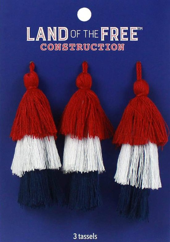 red white blue tassels