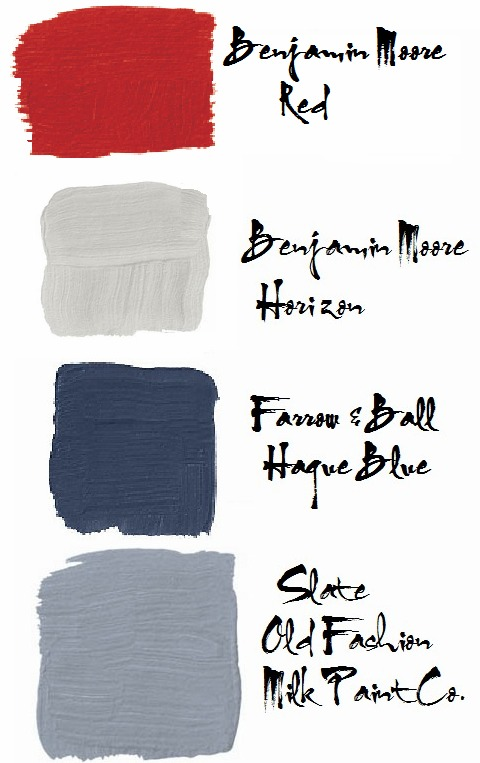 red white and blue paint colors