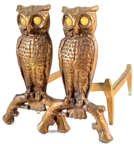 vintage-brass-owl-andirons