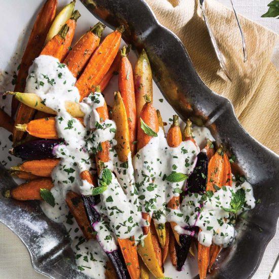 Cane Syrup-Roasted Carrots with Garlic-Herb Yogurt Sauce