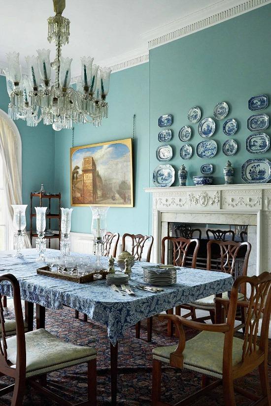 Paul Massey blue white dining room