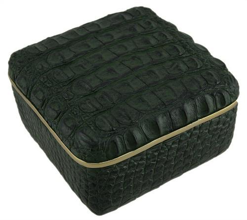 Elegant-Green-Alligator-Skin-Texture-Square-Trinket-Box