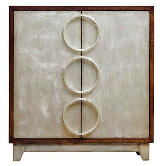 Jacinta Contemporary Silver Leaf Accent Cabinet
