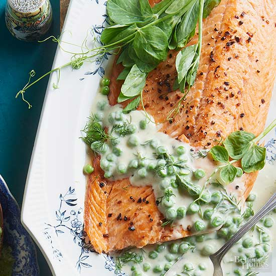 salmon with creamed peas