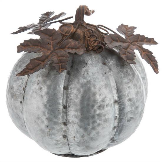Silver Galvanized Metal Pumpkin