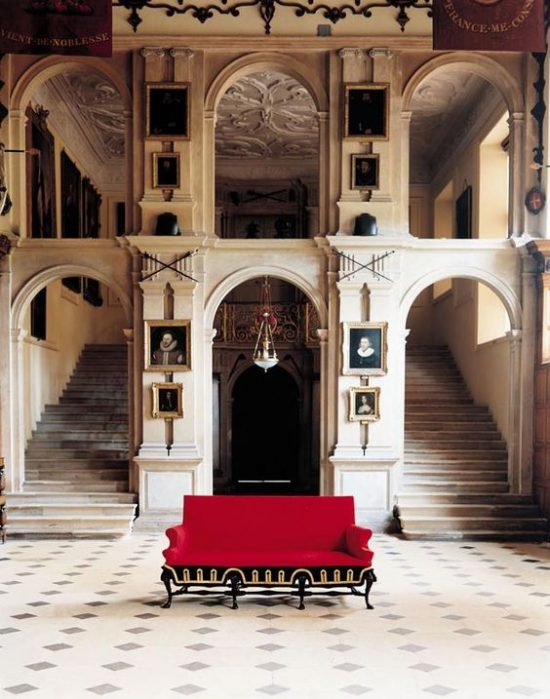 red black settee