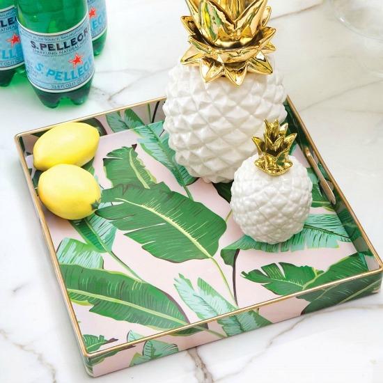 botanical leaf accent tray