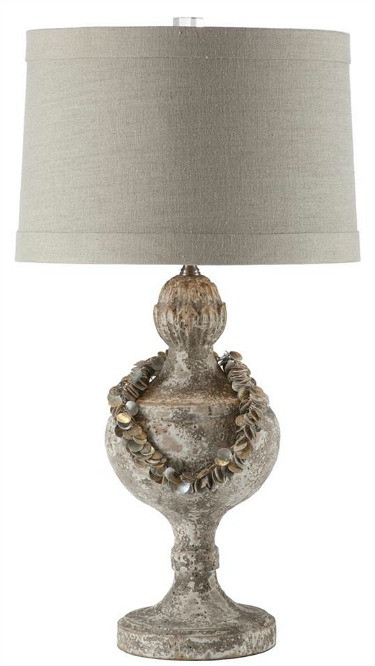 Coastal Beach Vintage Shell Collar Necklace Urn Table Lamp