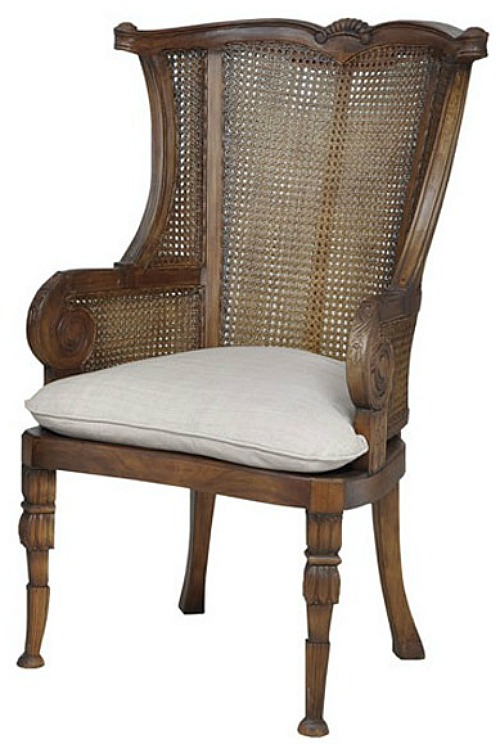 GuildMaster Caned New Signature Stain Wing Back Chairs- Set of 2