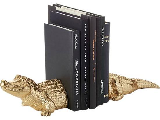 set of 2 alligator bookends