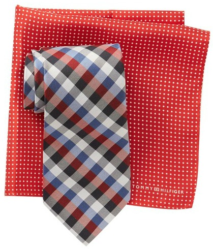 Tommy Hilfiger Silk Gingham Tie & Dot Print Pocket Square Set