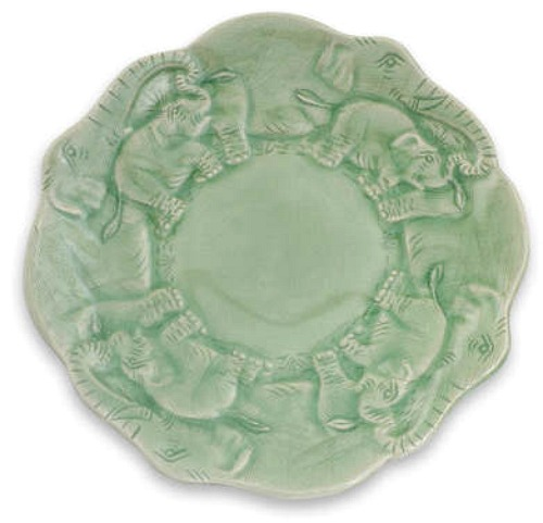 Elephant Theme Thai Celadon Ceramic Plate
