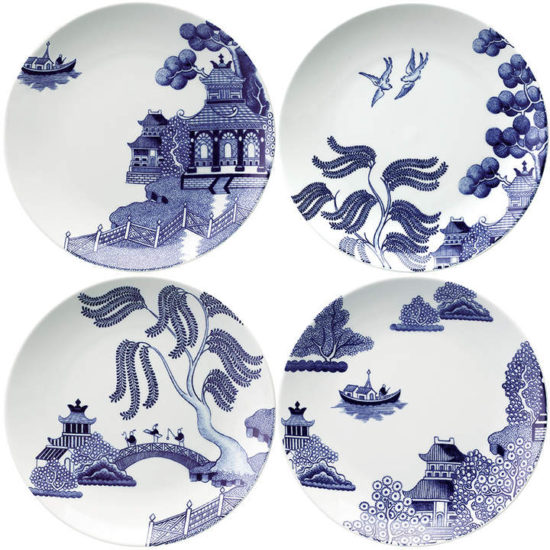 Loveramics - Willow Love Story Salad Plates - Set of 4