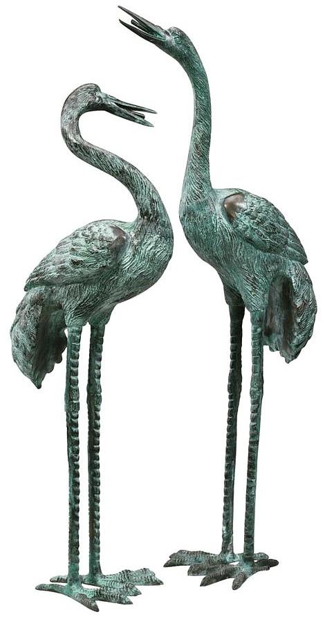 garden-crane-statue-set