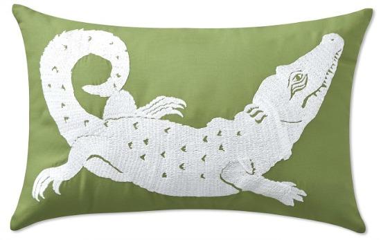 Outdoor Alligator Embroidered Lumbar Pillow, Gingko Green