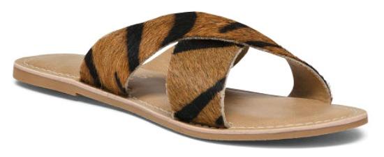 Crossband Leather Slide Sandals