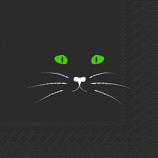 black-cat-face-cocktail-napkin