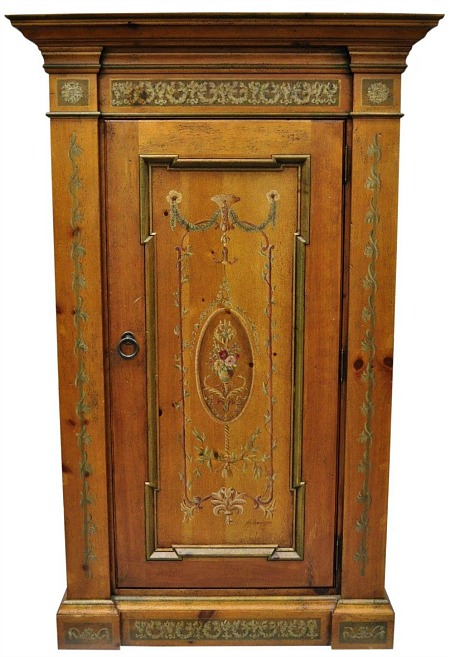 Habersham French Adams Style Paint Decorated Storage Cabinet Cupboard