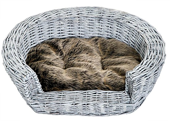 PawHut Raised Wicker Plush Faux Fur Pet Sleeping Couch with Cushion - Gray
