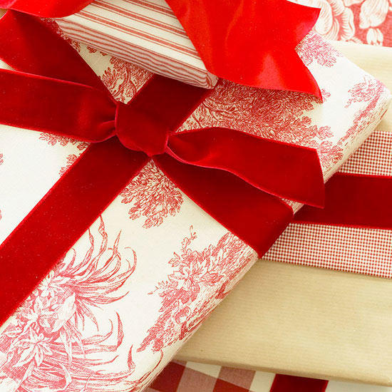 gift wrapped in fabric