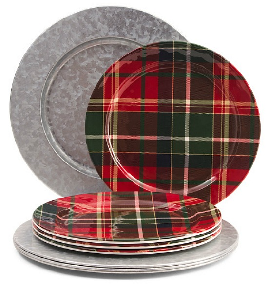 8pc Holiday Plaid Dinnerware Set