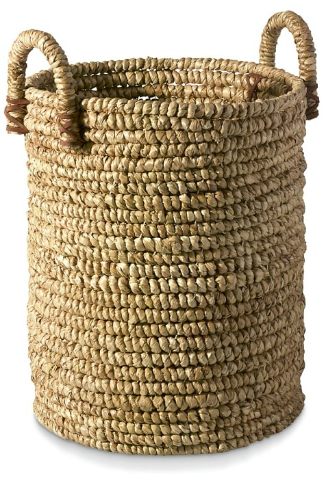 Woven Seagrass Basket with Leather