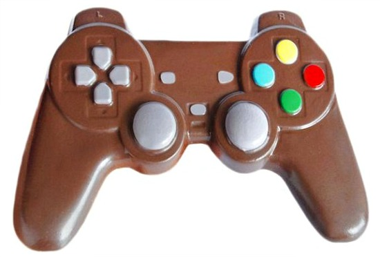 Solid chocolate video game controller