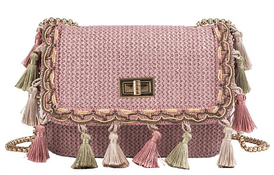 Wulofs Fashion Women Weaving Tassel Shoulder Bag Messenger Bag Crossbody Bag Beach Straw Bag (Pink)