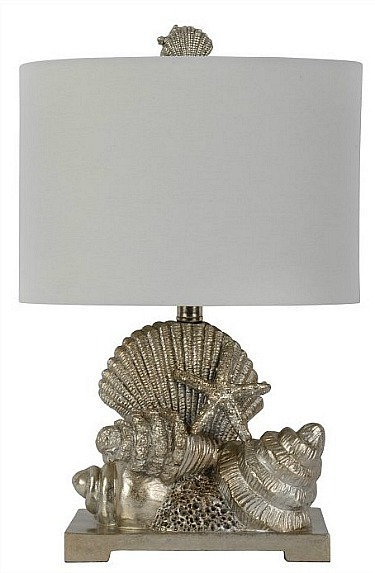 Decor Therapy Cordelia Silver Leaf Seashell Table Lamp
