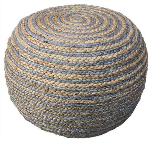 LR Home Two Tone Natural Hemp Braided Pouf Ottoman