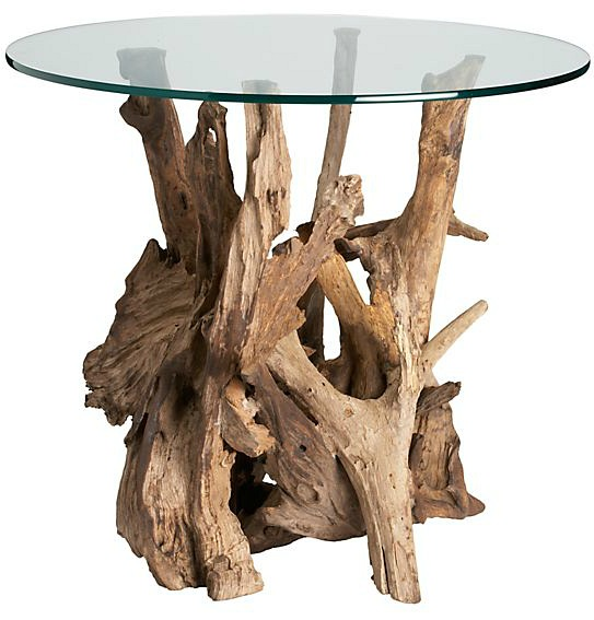 Driftwood End Table with Round Glass Top