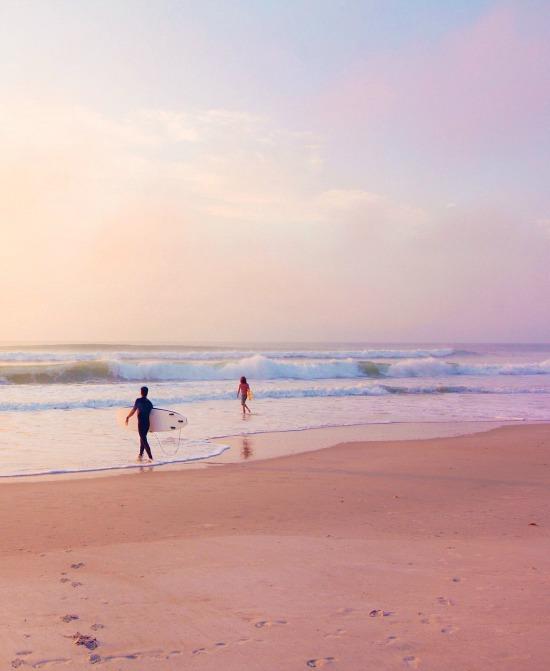 pastel beach sky waves surfing