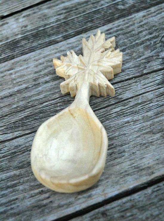 Hand Carved White Oak Wood Snowflake Spoon