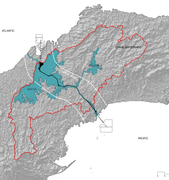 panama canal watershed map by the authors  [ 2000 x 1656 Pixel ]