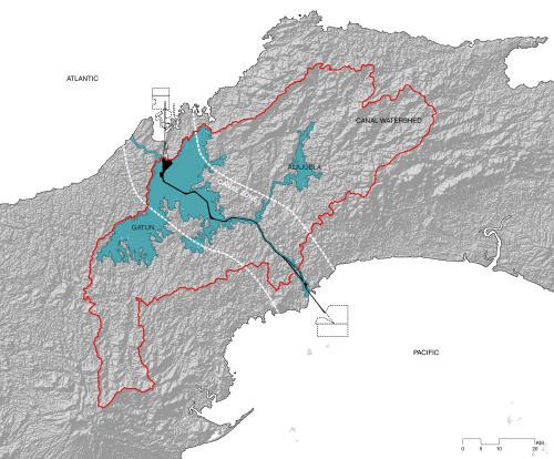 small resolution of panama canal watershed map by the authors