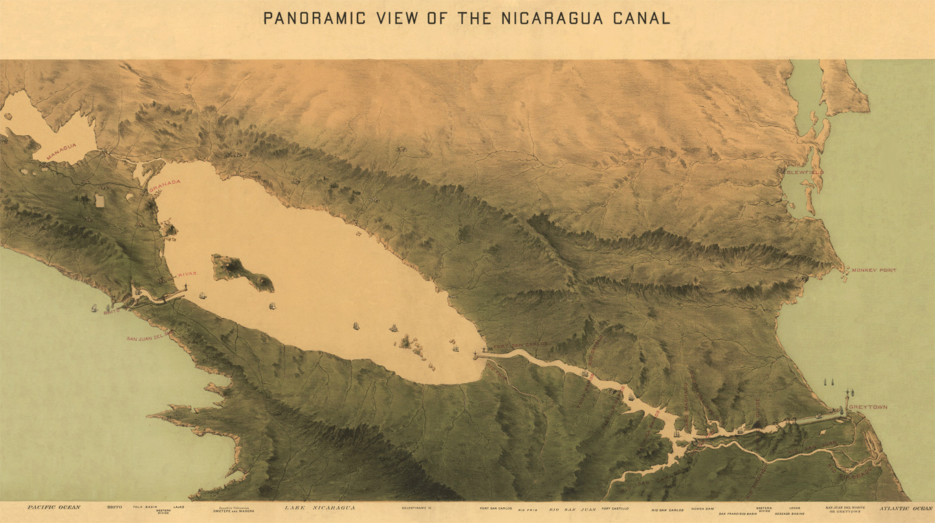 hight resolution of a route for the nicaragua canal proposed in 1870