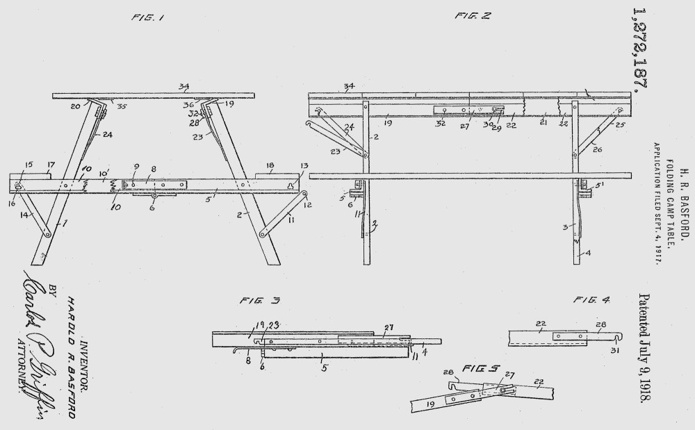 medium resolution of h r basford folding camp table u s patent 1918