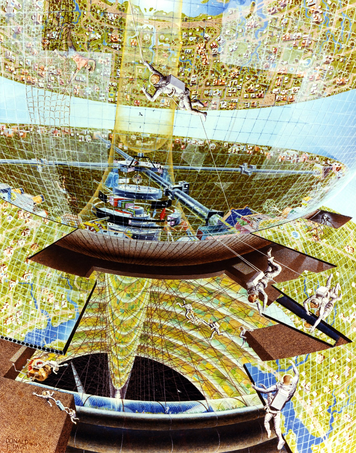 hight resolution of construction of a bernal sphere 1975 don davis nasa ames research center