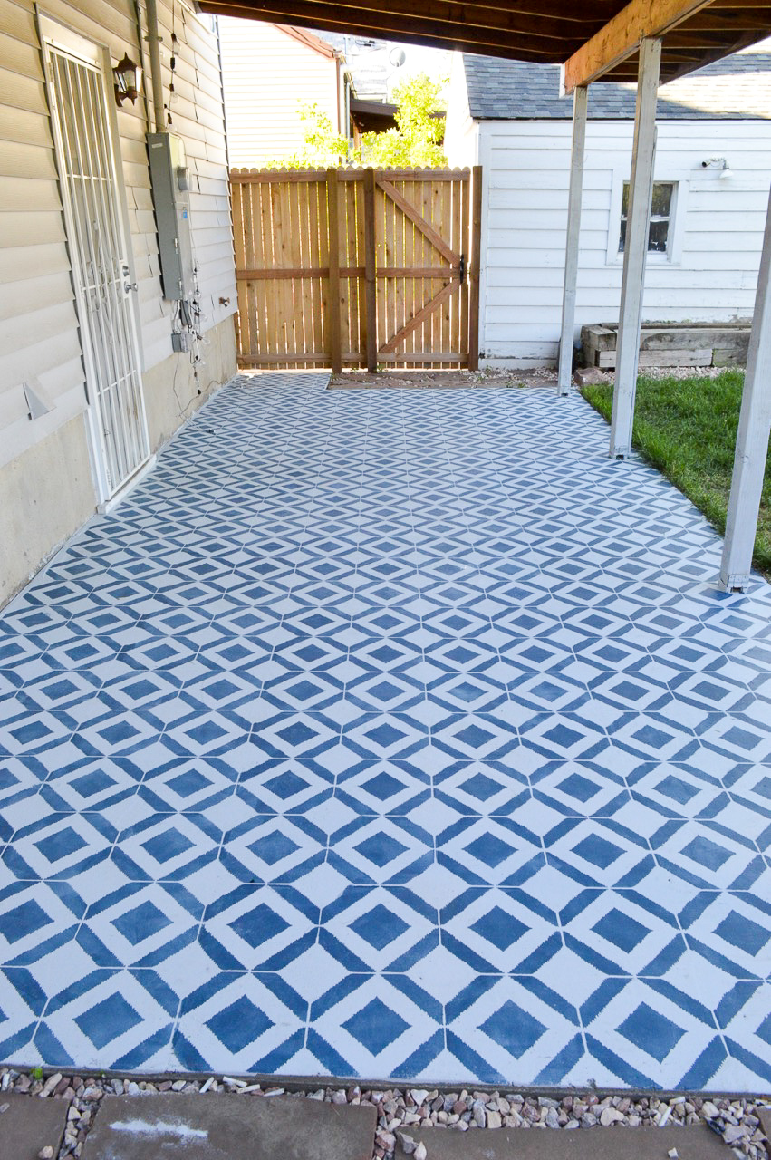 to stencil an existing concrete patio