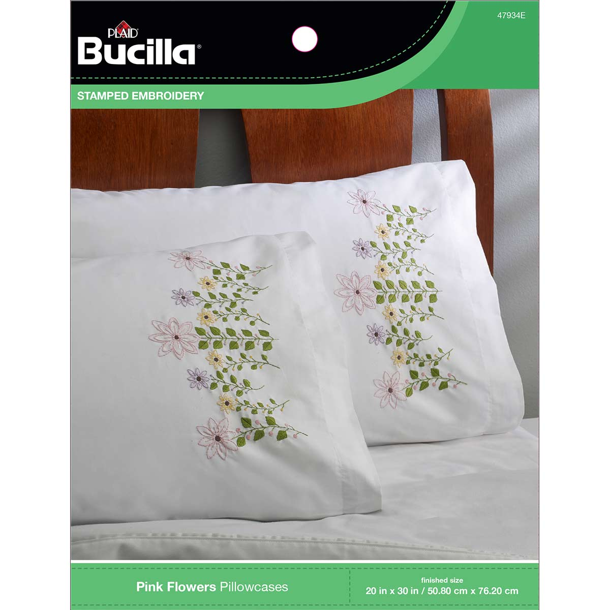bucilla stamped cross stitch embroidery pillowcase pairs pink flowers 47934e