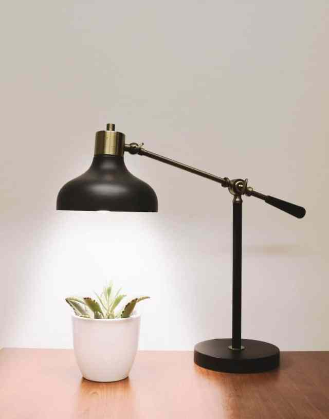 Brass table lamp next to plant