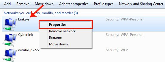 Manage Wireless Networks - List of Saved Wifi Networks