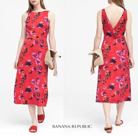 Banana Republic Petite Floral V-Back Fit-and-Flare Dress