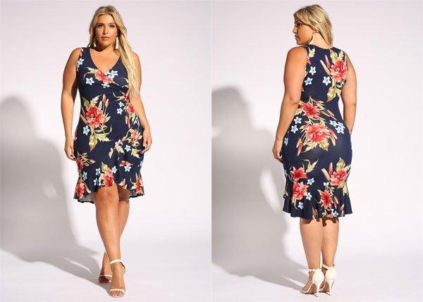 DebShops Plus Size Floral Ruffle Surplice Bodycon Dress