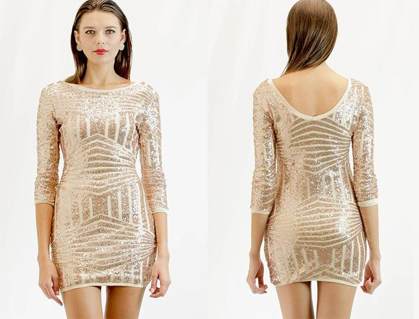 Etsy Gold Sequin, Geometric Glitter Cocktail Party Dress
