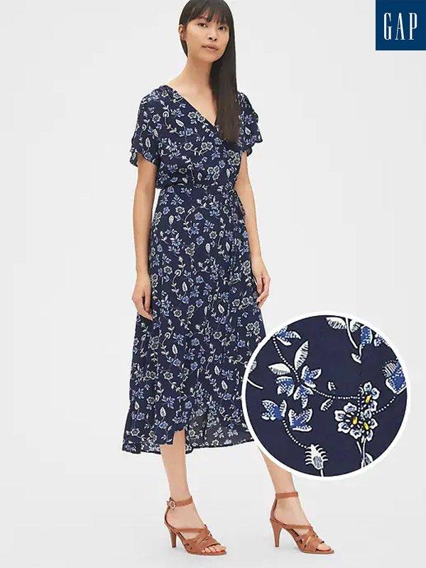 GAP Short Sleeve Print Midi Wrap Dress