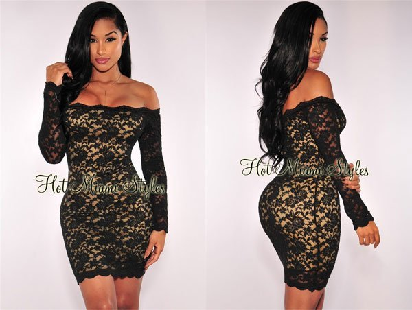 Hot Miami Styles Black Lace Nude Illusion Off Shoulder Dress