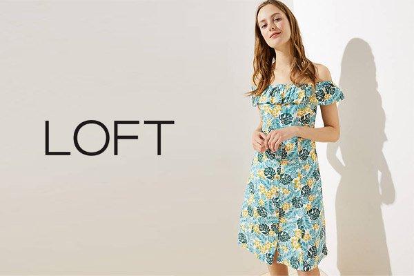 Loft Beach Flower Off The Shoulder Button Dress